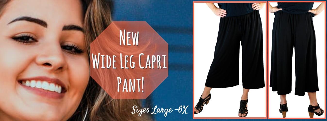 Women's Plus Size Wide Leg Capri Pant