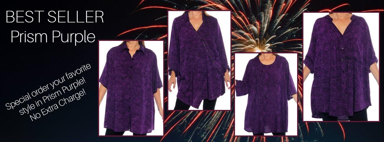 Women's plus size apparel prism purple printed tops