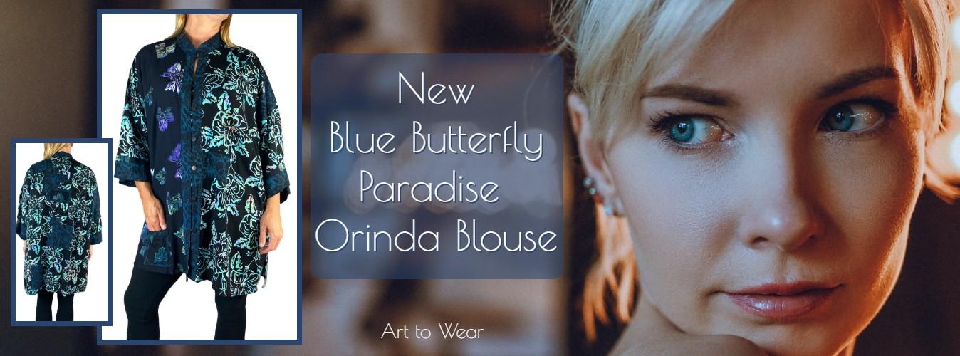 Blue Butterfly Paradise Orinda Blouse