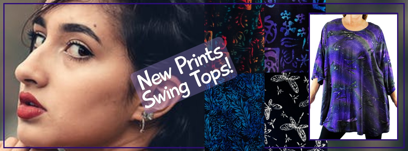 Women's Plus Size Batik Swing tops