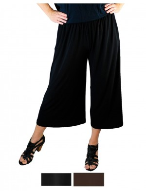 Solid CRINKLE RAYON or FLAT RAYON Wide Leg Capri Pant