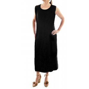 Solid Black Crinkle Rayon Tank Dress