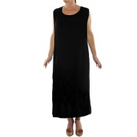 Solid Black Flat Rayon Tank Dress