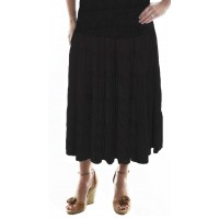 Solid Black Flat Rayon Tiered Skirt