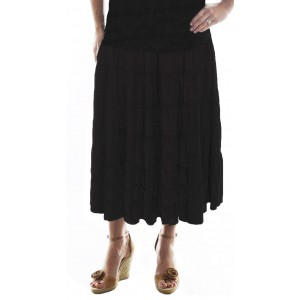 Solid Black Crinkle Rayon Tiered Skirt