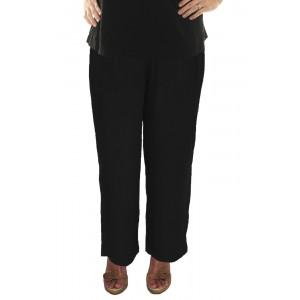 Solid Black Crinkle Rayon Easy Pant
