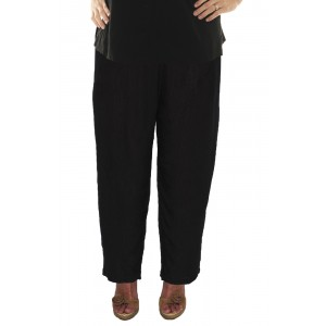 Solid Black Crinkle Rayon Narrow Pant