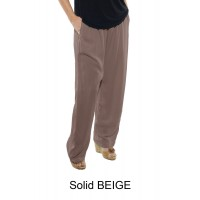 4X Solid CRINKLE RAYON BEIGE Easy Pant (exchange)