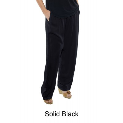 5X Solid BLACK FLAT RAYON Easy Pant (exchange)