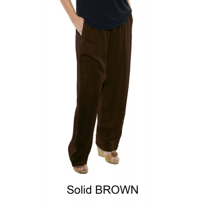 6X Solid BROWN CRINKLE RAYON Easy Pant (exchange)