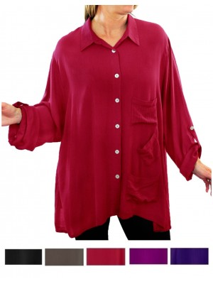Solid CRINKLE RAYON Hillary Blouse