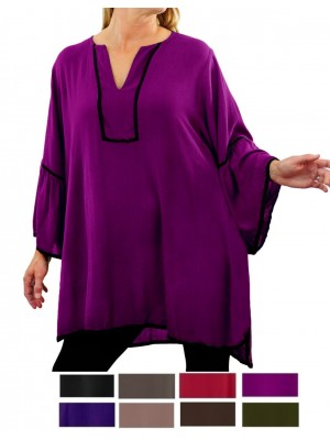 Solid CRINKLE RAYON Linda Blouse