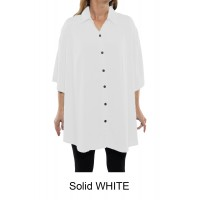 6X Solid CRINKLE RAYON WHITE New Tunic Top (exchange)