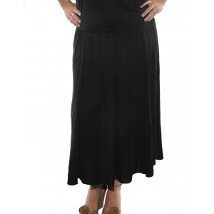 Solid Black Flat Rayon Aline Skirt