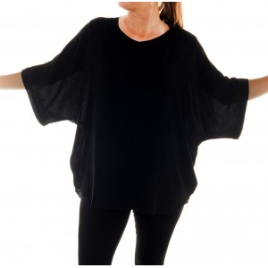 Solid Black Crinkle Rayon Shell Top