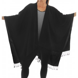 Solid Black Flat Rayon Cover Up