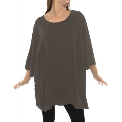 Solid GRAY Crinkle Rayon Swing Top