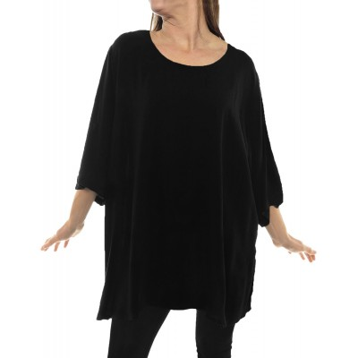 Solid BLACK Crinkle Rayon Swing Top