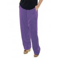 Solid DUSTY LILAC Crinkle Rayon Easy Pant