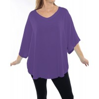 Solid DUSTY LILAC Crinkle Rayon Shell Top