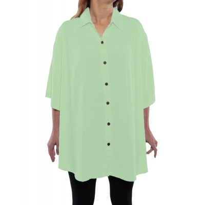 Solid MINT GREEN Crinkle Rayon New Tunic Top
