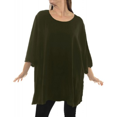 Solid OLIVE GREEN Crinkle Rayon Swing Top