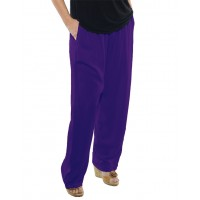 Solid PURPLE Crinkle Rayon Easy Pant