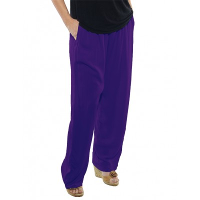 Solid Purple CRINKLE RAYON or FLAT RAYON Easy Pant