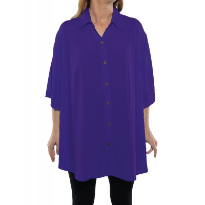 Solid PURPLE Crinkle Rayon New Tunic Top