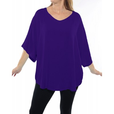 Solid Purple CRINKLE RAYON or FLAT RAYON Shell Top