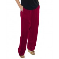 Solid RED Crinkle Rayon Easy Pant