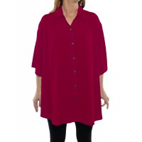 Solid RED Crinkle Rayon New Tunic Top