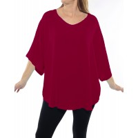 Solid RED Crinkle Rayon Shell Top