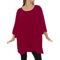 Solid RED Crinkle Rayon Swing Top