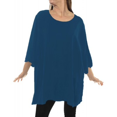 Solid TEAL BLUE Crinkle Rayon Swing Top
