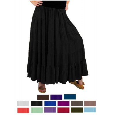 Solid CRINKLE RAYON or FLAT RAYON Tiered Skirt