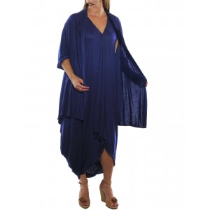Rayon Knit Dress set with scarf -Sapphire