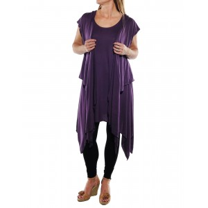 Rayon Knit Tunic with Hooded Jacket set -Amethyst