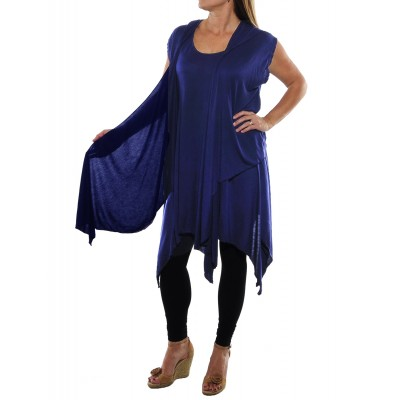 Rayon Knit Tunic with Hooded Jacket set -Sapphire