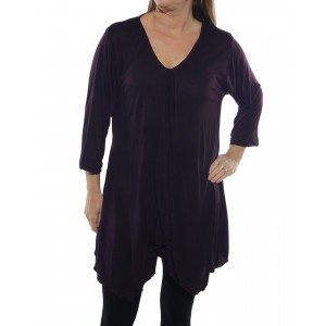 Rayon Knit Overlap Blouse with tie back -Aubergine