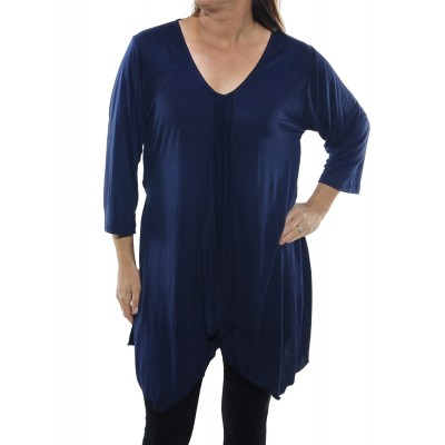 Rayon Knit Overlap Blouse with tie back -Midnight Blue