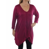 Rayon Knit Overlap Blouse with tie back -Wine