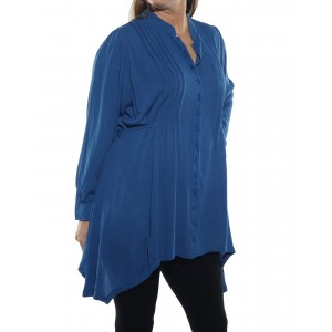 Solid Blue Crinkle Rayon Pleated Blouse with tie back