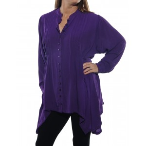 Solid Purple Crinkle Rayon Pleated Blouse with tie back