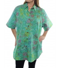Flower Block Green New Tunic Top -Cotton