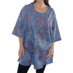 Java Delight Blue Swing Top -Cotton