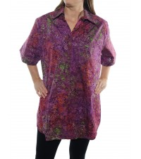 Java Delight Wine New Tunic Top -Cotton