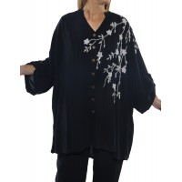 Solid Charcoal Blue BEADED Katherine Blouse