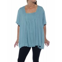 Jacquard Dusty Blue Maxine Blouse