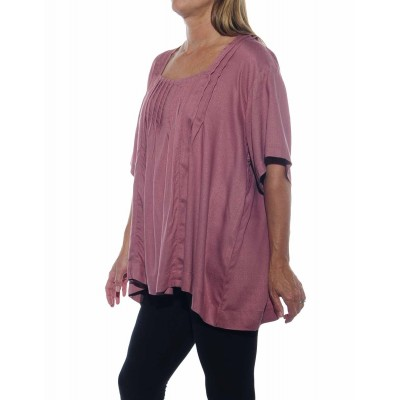 Solid Dusty Rose Jacquard Maxine Blouse